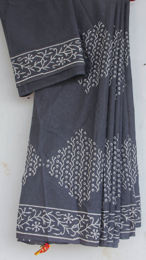Jodhpuri Block-Printed Grey and White Soft Cotton Saree(with Blouse)