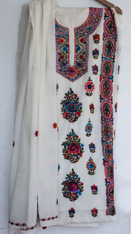 Hand Embroidered Off-White and Multi-Colored Pure Cotton Suit