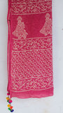 Jodhpuri Block-Printed Pink and Off-White Soft Cotton Saree(with Blouse)