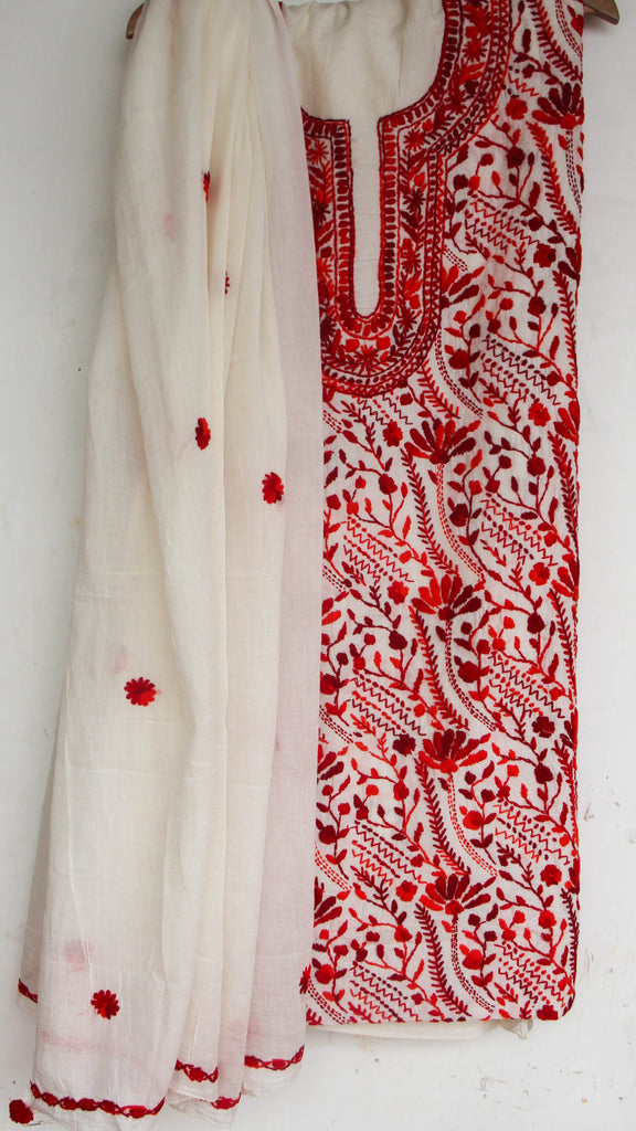 Hand Embroidered Off-White and Red Pure Cotton Suit