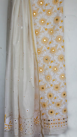 Kaamdani Lucknawi Chikankari Embroidered White and Yellow Chanderi Kurta and Dupatta set
