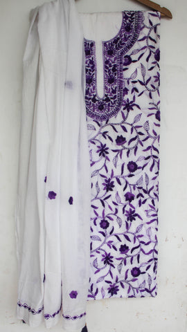Hand Embroidered Off-White and Purple Pure Cotton Suit