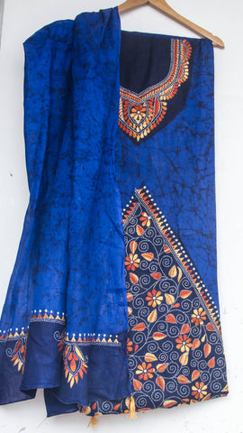 Kantha Hand Embroidered Royal Blue and Navy Blue Cotton Suit with Batik Dyeing