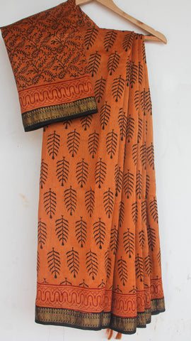 Block-Printed Maheshwari Silk Copper and Black  Saree(with Blouse)