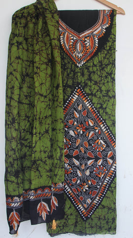 Kantha Hand Embroidered Olive Green and Black Cotton Suit with Batik Dyeing