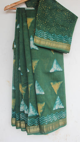 Block-Printed Maheshwari Silk Green  Saree(with Blouse)