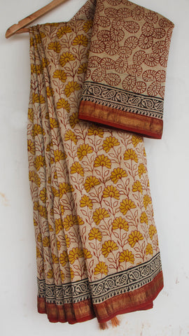 Block-Printed Maheshwari Silk Beige and Rust Saree(with Blouse)