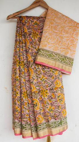 Block-Printed Maheshwari Silk Pink and Yellow Saree(with Blouse)