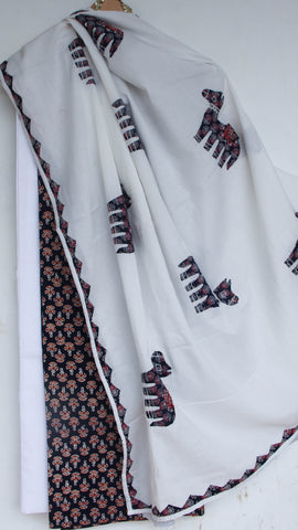 Ajrakh Black and White Pure Cotton Suit with Patchwork and Embroidered dupattas