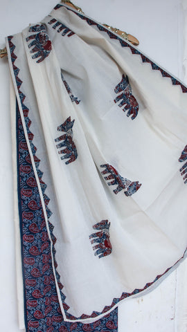 Ajrakh Blue and Off-White Pure Cotton Suit with Patchwork and Embroidered dupattas