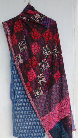 Ajrakh Indigo Pure Cotton Kurta with Patchwork dupatta