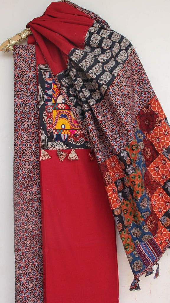 Ajrakh Maroon and Multi-colored Pure Cotton Suit with Rabari (Kutchwork) embroidery