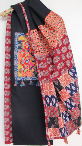 Ajrakh Black and Multi-colored Pure Cotton Suit with Rabari (Kutchwork) embroidery