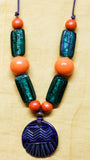 Stoneware Blue-Green Glazed Medallion Pendant Necklace