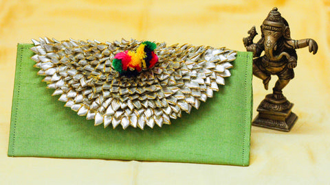 Rajasthani Gotawork Apple Green Clutch Purse cum Wallet