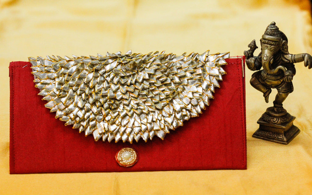 Rajasthani Gotawork Deep Red Clutch Purse cum Wallet