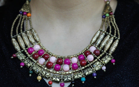 Tribal Necklace with Golden and Pink Beads