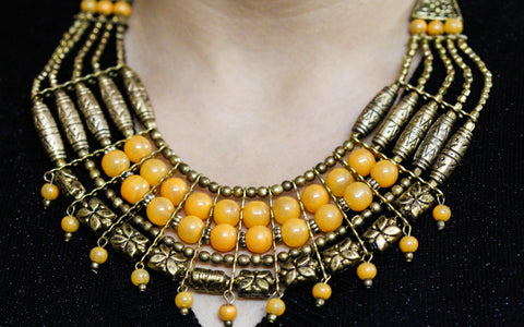 Tribal Necklace with Golden and Ochre Beads