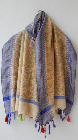 Kantha Embroidery Beige and Blue Cotton Tussar Handloom Dupatta