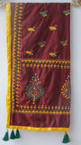 Kantha Embroidered Deep Rust Silk Stole