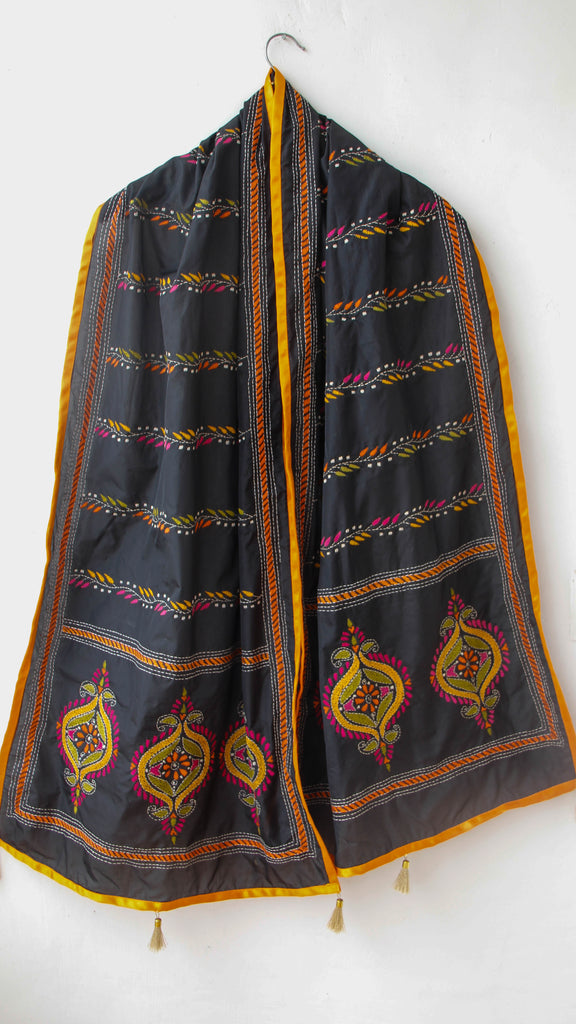 Kantha Embroidered Black Silk Stole