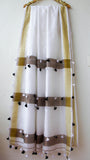 Handloom White, Gold and Bronze Cotton-SIlk Saree(with Blouse)
