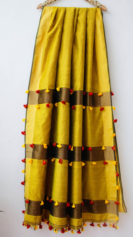 Handloom Mustard, Gold and Bronze Cotton-Silk Saree(with Blouse)
