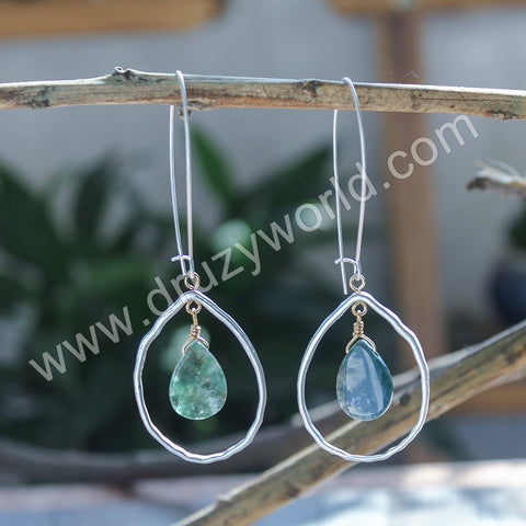Silver Plated Drop Natural Stone Dangle Earrings WX1692