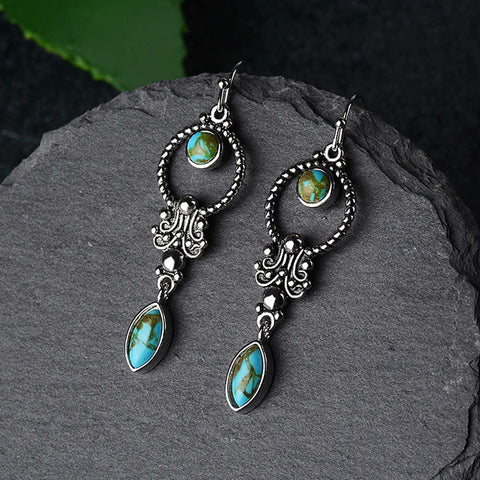 Turquoise Boho Tai Silver Earrings AL296