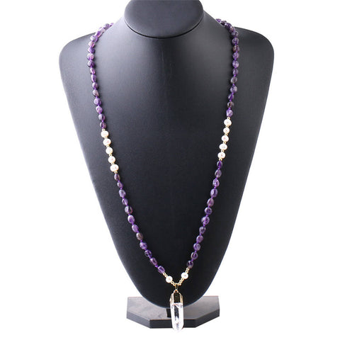 "32"" Amethyst Rose Quartz Black Agate Mala Beaded Long Necklace"
