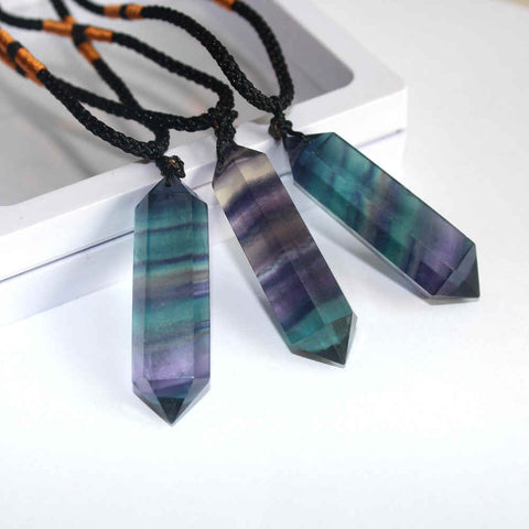 Natural Rainbow Fluorite Crystal Point Pendant AL043