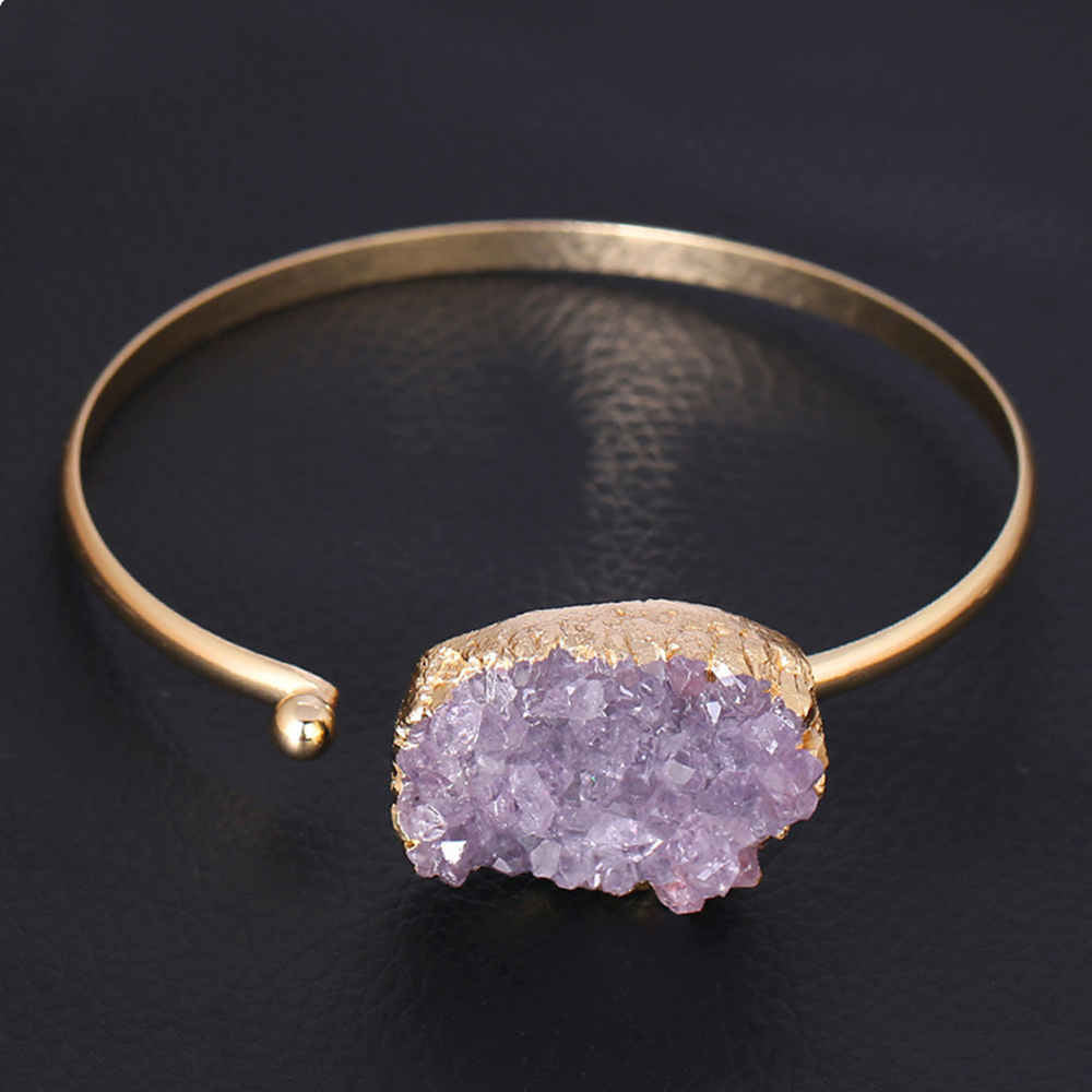 Natural Raw Amethyst Gold Open Bangle Cuff