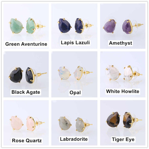 Natural Crystal Stone Gold-plated Drops Prong Set Earrings