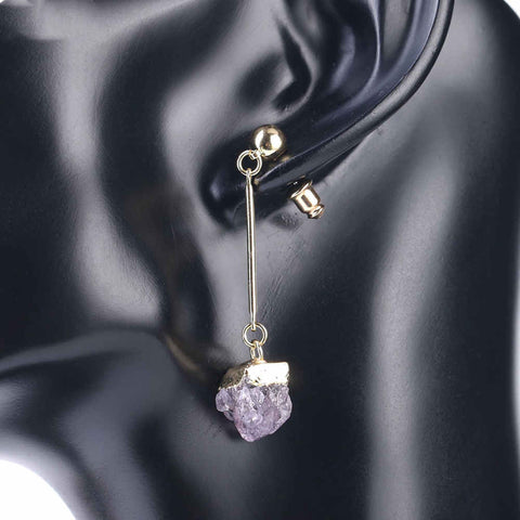 Natural Raw Amethyst Earrings Gold