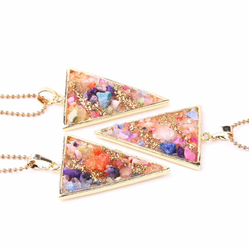 Gold plated Healing Crystal Chips Raw Stone Triangle Necklace