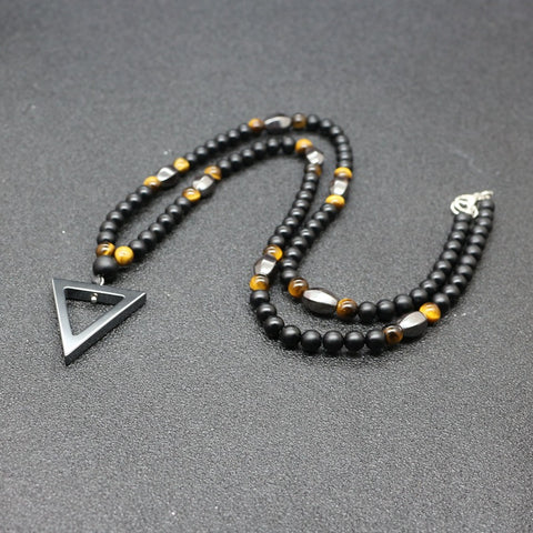6 mm Matte Black Agate Mala beads and triangular pendant Men's Necklace
