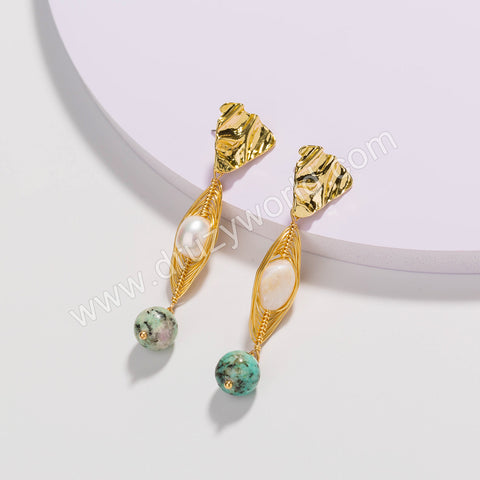 Gold Plated Wire Wrap Pearl With Green Beads Stud Earrings WX1672