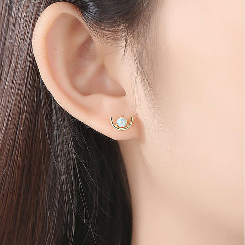 S925 Sterling Silver Opal Earrings AL104