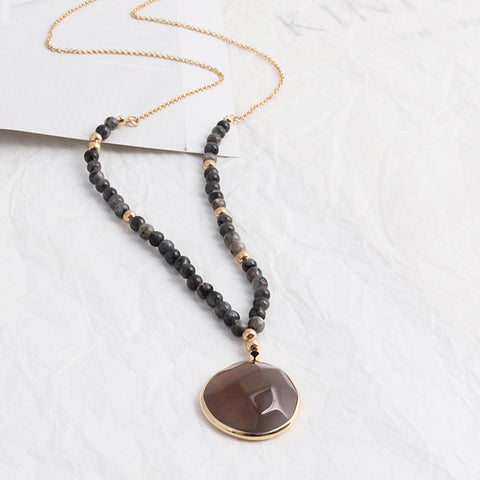 Natural Agate Beaded Gold Chain Necklace