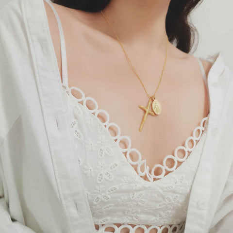 "Gold Cross with Coin 18"" Chain Necklace"