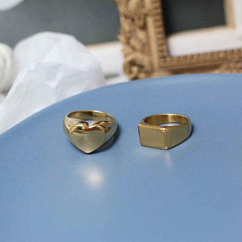 18K Gold Heart and Rectangle Simple Ring