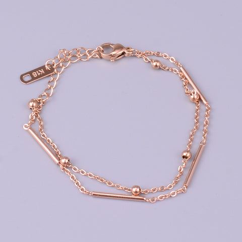 "6"" Titanium Steel Double Rose Gold Chain Bracelet AL187"