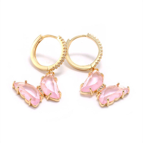 Gold Plated Zircon Colorful Butterfly Earrings