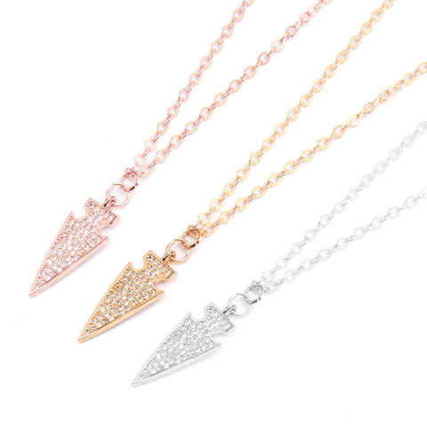 Triangle Arrow Micro Pave Pendant Necklace