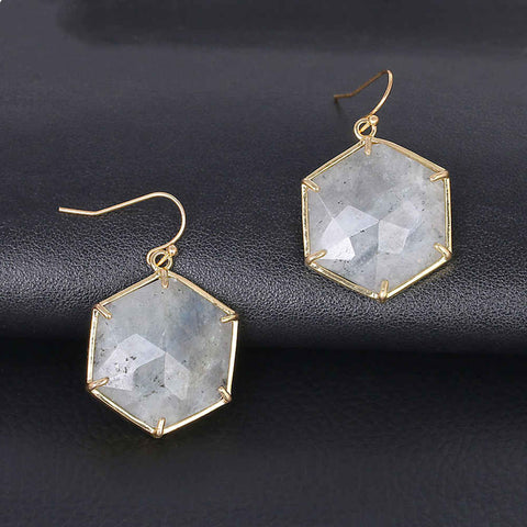 Natural Rose Quartz Labradorite Turquoise Diamond Shape Earrings