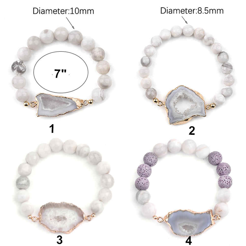 Natural Slice Geode Druzy Connector Beads Bracelet