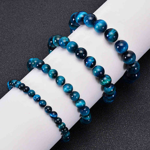 Natural Sky Blue Tiger Eye Beaded Bracelet