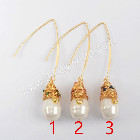 Gold Plated Natural Pearl With Multi CZ Charm Earrings WX1274-E
