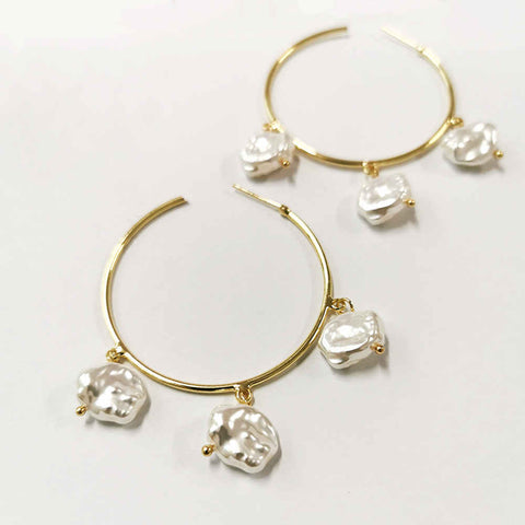 Natural Pearl C shape Gold Big Earrings AL194
