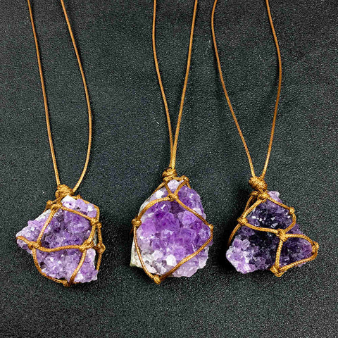 Natural Uruguay Amethyst Cluster Raw Stone Pendant with Woven Rope Necklace AL182